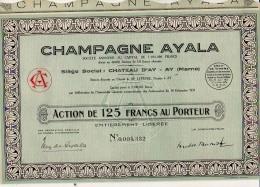 Action : Champagne Ayala Château D'Ay à Ay Marne / Action De 125 Francs Au Porteur 1935 / 30 Coupons - Banque & Assurance