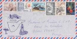 = Souvenir De Tenerife Enveloppe Espagne 6 Timbres  (78 & 79) Oblitérés Destination France Arrivée 17.02.88 - 1931-Hoy: 2ª República - ... Juan Carlos I