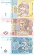 Ukraine - Pick 116A, 117c, 118d - 1, 2, 5 Hryvnia,Hryvni,Hryven 2011, 2013 - Unc - Set 3 Banknotes - Ucraina