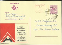 Publibel Obl. N° 2628 + P. 010 ( Consultez Votre Médecin : HYPERTENSION) Obl: Brugge  17/11/1976 - Stamped Stationery