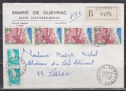 = Enveloppe  Recommandé France Mairie De Queyrac 21.7.78 à Pessac 22.7.78n°1904 (4) Et 1967 (2) - Storia Postale