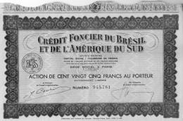 Action De 125 Francs Au Porteur Crédit Foncier Du Brésil Et De L'Amérique Du Sud  - 23  Coupons - Banque & Assurance