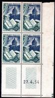 FRANCE - YT N° 971 Bloc De 4 Coin Daté - Neufs ** - MNH - Cote: 9,00 € - 1950-1959