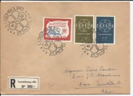LUXEMBOURG - 3 TIMBRES SUR ENVELOPPE AVEC CAD DU 19/09/1959 POUR BRUXELLES - Cartas