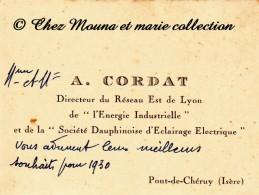 PONT DE CHERUY - CORDAT DIRECTEUR DU RESEAU EST DE LYON - SOCIETE DAUPHINOISE D ECLAIRAGE ELECTRIQUE - ISERE - CDV - Cartes De Visite