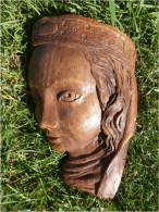 Très Belle Tête  En Résine Imitation Bois  :     Tête De Femme époque Médiévale  Dimensions :150 Mm X 190 Mm,épaisseur 5 - Wood