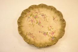 Ancien Plat Céramique Allemande Signé Ludwig Wessel 1755 Bonn Poppelsdorf. Décor Floral Style Art Nouveau Fin 19e S ? - Céramiques