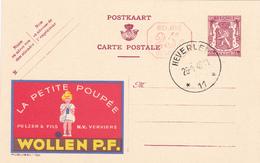 PUBLIBEL N° 780M -  WOLLEN P.F + 25C -   NL/FR -  OBLITERE BEAU CACHET HEVERLEE + 2 ETOILES - Entiers Postaux