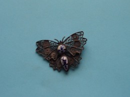 Old Broche / Brooch Papillon With Delft's Blue / Art Nouveau - Vintage ( For Detail See Photo ) !! - Broches