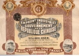 Emprunt Industriel Du Gouvernement De La Republique Chinoise Obligation De 500 Francs 5% Or 1914 -N°154186 - 85 Coupons - Actions & Titres