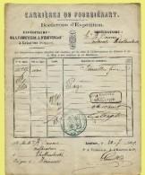 Borderau D´expédition Carrières, Spoorwegafst. LESSINES 24/07/1879 Naar Tollembeek Via Station Herne / Hérinnes - Chemins De Fer