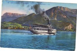 """Carte Postale Sur Le Lac D'Annecy , Le Vapeur """" France """" Et Le Parmelan . - Annecy"""
