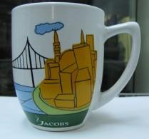 AC - JACOBS COFFEE BOSPHORUS BRIDGE ISTANBUL ILLUSTRATED PORCELAIN MUG - CUP FROM TURKEY - Cups