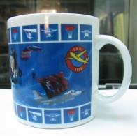 AC -  TURKISH AERONAUTICAL ASSOCIATION  PILOT PLANE PARACHUTE ILLUSTRATED PORCELAIN MUG - CUP FROM TURKEY - Cups