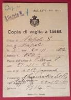 REGNO MODULISTICA MOD.XLVI ED.1914  COPIA DI VAGLIA A TASSA  NAPOLI 20/11/1922 - TIP.BARCHI - ROMA - Advertising