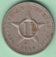 1915-MN-118 CUBA. KM A10 CO-NI 2c STAR 1915. XF. - Cuba
