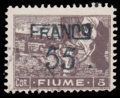 FIUME: Allegorie Soprastampato FRANCO 55 Su 5 Corone - Bruno / 1919 - 8. WW I Occupation