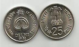 India 25 Paise 1982. UNC  IX ASIAN GAMES DELHI KM#52 - Inde