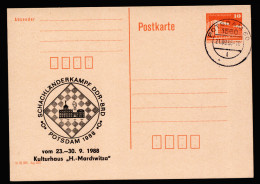 A4138) DDR Schach Chess Karte Zudruck Länderkampf Potsdam 1988 Mit Stempel Potsdam 21.09.88 - Chess