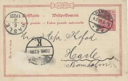 Germany - Stamped Stationery.  Hamburg To  Hasle Bornholm   Denmark. 1901 S-2871 - Entiers Postaux