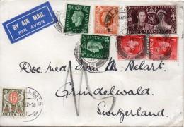Grande Bretagne Lettre Par Avion Taxée En Suisse 1937 - Poststempel