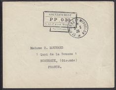 """SPM - ENVELOPPE DE St PIERRE ET MIQUELON VERS BORDEAUX - TAMPON """" GOUVERNEMENT PP  030 + CACHET DU 3-5-1926 - - St.Pierre Et Miquelon"""