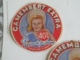 Ancienne étiquette Fromage Camembert Champagne  Fromagerie Rongemaille Fils Chevigny , Marne 51 Fermière Coiffe - Fromage