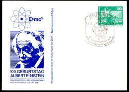 100th Birthday ALBERT EINSTEIN 1979 East German Private Postal Card PP16 C2/008 - Physique