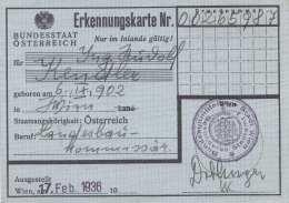 ERKENNUNGSKARTE ÖSTERREICH 1936 - Historische Dokumente