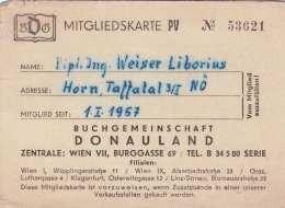 MITGLIEDSKARTE BUCHGEMEINSCHAFT DONAULAND 1957 - Historische Dokumente