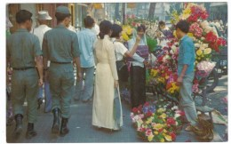 Saigon Vietnam, Vietnam War Ear, Flower Market, Soldiers C1960s Vintage Postcard - Vietnam