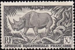 FRENCH EQUATORIAL AFRICA (A.E.F.) - Scott #167 Black Rhinoceros (*) / Mint H Stamp - Rhinocéros