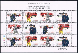China  Macau 2001 Fire Brigade  Full Sheet - 1999-... Chinese Admnistrative Region