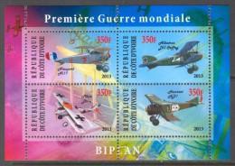 C.Ivoire 2013 - Avions Biplan De La 1er Guerre Mondiale - BF Neufs // Mnh - Guerre Mondiale (Première)