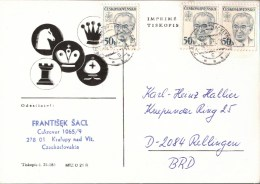 ! 1986 Schachspiel, Chess, Echecs, Kralupy, CSR, Fernschachkarte Nach Rellingen - Schach