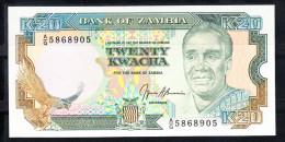 ZAMBIA 1989   20 KWACHA. EFIGIE DEL PRESIDENTE. AL DORSO JIRAFA Y ESCULTURA DE CABEZA  NUEVO PLANCHA  B841 - Zambia