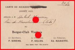 VISE 1937 Carte De Membre Du Berger Club Visétois - Cartes