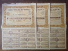 Société Générale Des Graphites, Madagascar, Fevrier 1931, Part Bénéficiaire Au Porteur Lot De 3 - Afrique