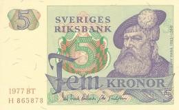 SWEDEN 5 KORONOR 1977 P-51d UNC YEAR IN PALE RED OFFSET [ SE51d1977 ] - Sweden