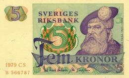 SWEDEN 5 KORONOR 1979 P-51d UNC YEAR IN PALE RED OFFSET [ SE51d1979 ] - Sweden