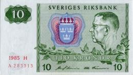 SWEDEN 10 KORONOR 1985 P-52d UNC ENGRAVED SIGN. [ SE52d1985 ] - Sweden