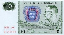 SWEDEN 10 KORONOR 1981 P-52e AU/UNC OFFSET SIGN. [ SE52e1981 ] - Sweden