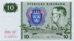 SWEDEN 10 KORONOR 1984 P-52e UNC OFFSET SIGN. [ SE52e1984 ] - Sweden