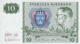 SWEDEN 10 KORONOR 1987 P-52e UNC OFFSET SIGN. [ SE52e1987 ] - Sweden