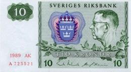 SWEDEN 10 KORONOR 1989 P-52e UNC OFFSET SIGN. [ SE52e1989 ] - Sweden