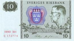 SWEDEN 10 KORONOR 1990 P-52e UNC OFFSET SIGN. [ SE52e1990 ] - Sweden