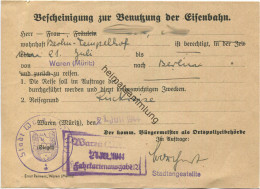 Bescheinigung Zur Benutzung Der Eisenbahn Von Waren (Müritz) Nach Berlin 1944 - Transporttickets