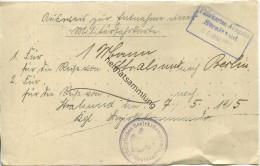 Deutschland - Ausweis Zur Entnahme Einer Militärfahrkarte Für 1 Person Von Stralsund Nach Berlin Am 7. 5. 1915 - Königli - Transporttickets