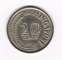 °°° SINGAPORE  20  CENTS 1968 - Singapour