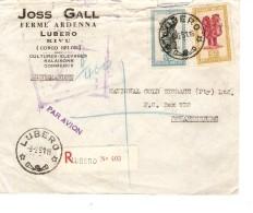 TP 289-290 S/L.Avion Recommandée C.Lurebo (Kivu) 8/2/1951 V.Johannesburf South Africa PR3379 - Congo Belge
